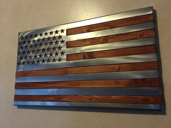 American Flag made from wood and fabricated metal