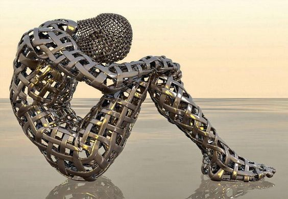 A body made of woven fabricated metal