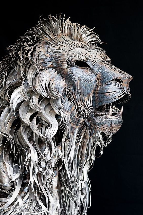 Lion woven from fabricated metal